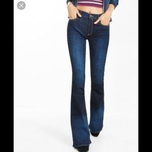 Express High Rise Bell Flare Jeans. Size 2R.